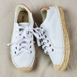 SOLUDOS White Leather Espadrille Sneakers 6